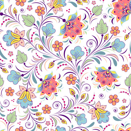 Illustration of colorful floral seamless pattern