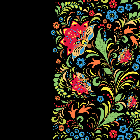 Illustration of traditional russian floral  pattern Ilustração
