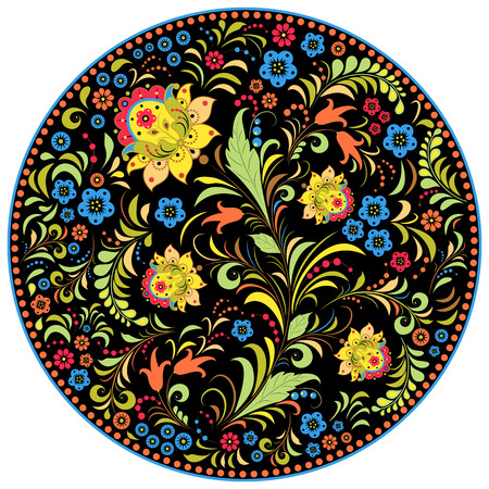 russian: Vector illustration of floral traditional russian pattern.Khokhloma. Illustration