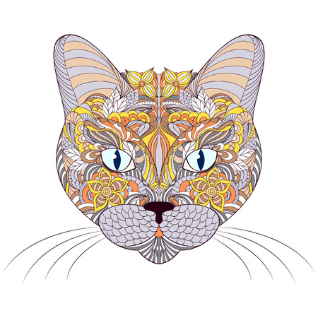 tomcat: Vector illustration of head of cat on white background