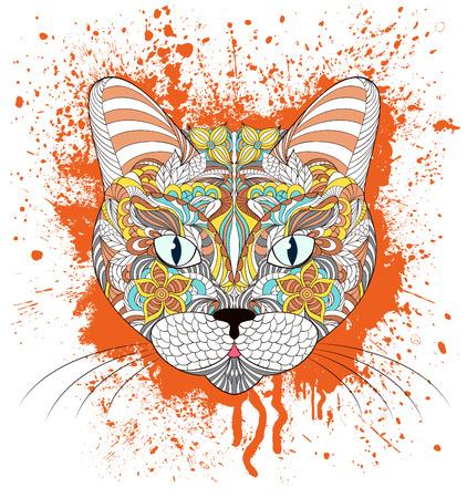 undomesticated: Vector illustration of head of cat on grunge splash