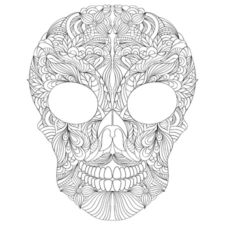 adult bones: Vector Illustration of floral skull on white background.Coloring page for adult. Illustration