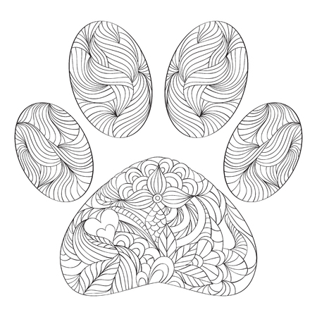 vector illustration of abstract animal paw print on white background.Coloring page for adult.