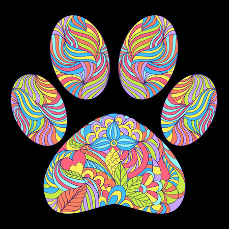 vector illustration of abstract animal paw print on black background Ilustrace