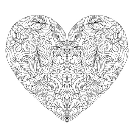 antistress: Vector illustration of floral heart on white background. Coloring page for adult.
