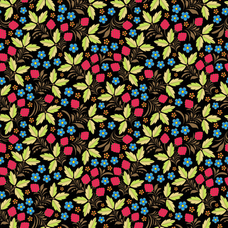 traditional illustration: Vector illustration of seamless pattern with traditional russian floral ornament.Khokhloma.