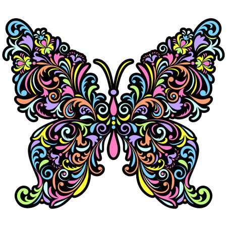 illustration of abstract floral butterfly on white background