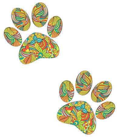 animal print: ilustración de animal de la pata abstracta imprime sobre fondo blanco Vectores