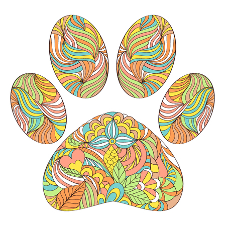 illustration of abstract animal paw print on white background