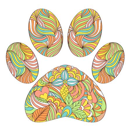 illustration of abstract animal paw print on white background Illustration