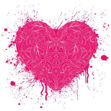 grunge heart: illustration of grunge heart with handdrawn pattern on white background Illustration