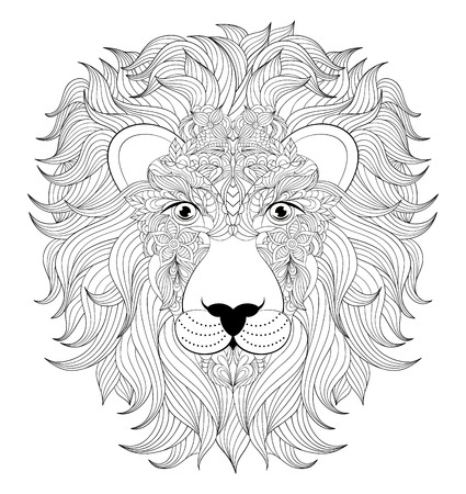 mane: illustration of colorful  head of  lion on white background. Coloring page for adult.