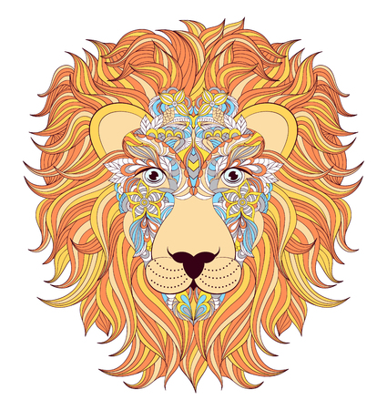 undomesticated: illustration of colorful  head of  lion on white background.