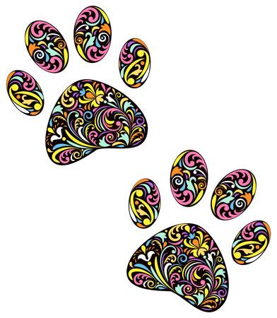 paws: illustration of floral animal paw print on white background Illustration