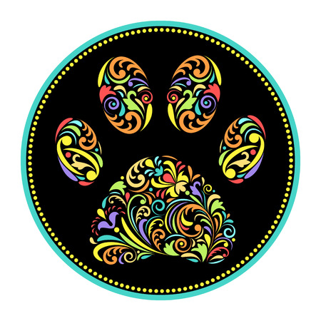 huellas de animales: ilustración de animal de la pata de la impresión floral sobre fondo blanco