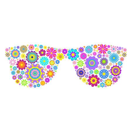 illustration of floral eyeglasses on white background