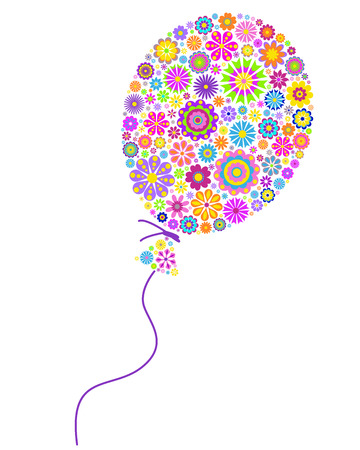 flowery: Vector illustration of floral colorful  balloon on white background