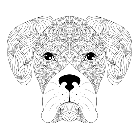 coloring pages: illustration of head of dog on white background.Coloring page for adult.