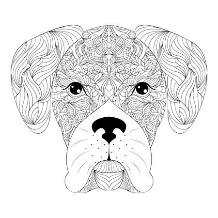 dibujos para colorear: ilustración de la cabeza del perro en la página background.Coloring blanco para adultos.