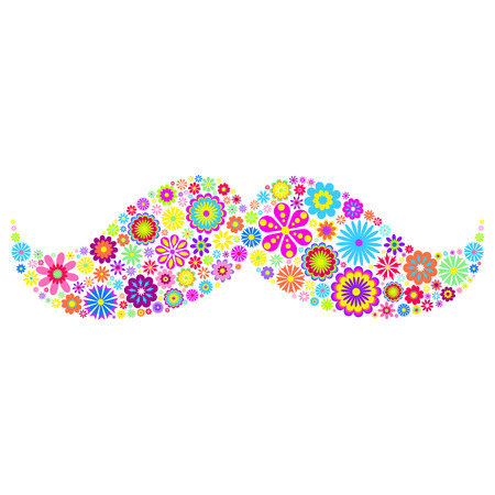 yellow orange: Vector illustration of colorful  floral mustache on white background