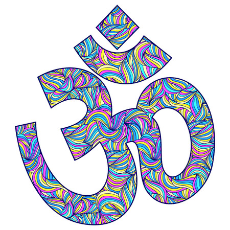 ohm: illustration of Om symbol on white background Illustration