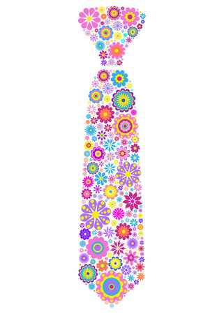 ties: illustration of colorful floral tie on white background Illustration