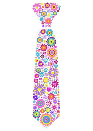 pink floral: illustration of colorful floral tie on white background Illustration