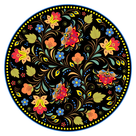 illustration of floral traditional russian pattern Illustration