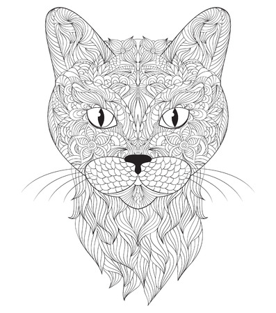 white abstract: illustration of head of cat on white background