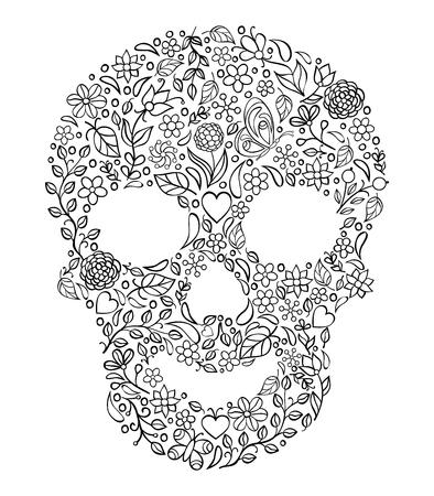 Illustration of floral skull on white background.Coloring page for adult. Illustration