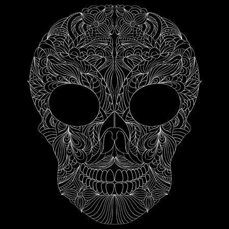 dead leaf: Illustration of abstract skull on black background.