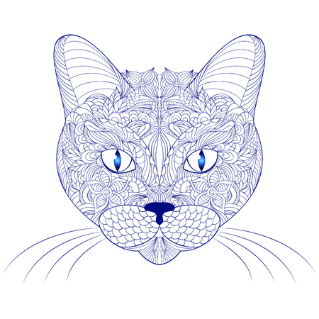 antistress: illustration of head of cat on white background