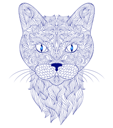 white cat: illustration of head of cat on white background