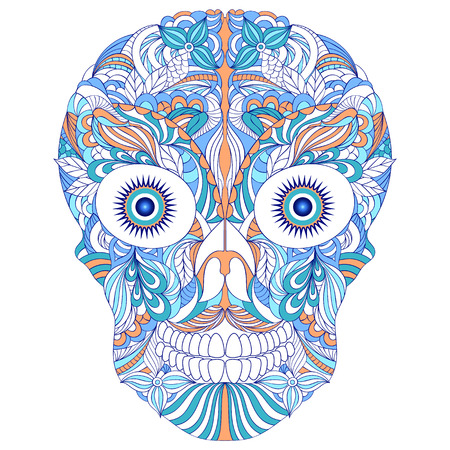 Illustration of floral skull on white background