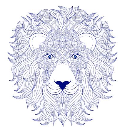 illustrate: illustration of head of lion on white background.