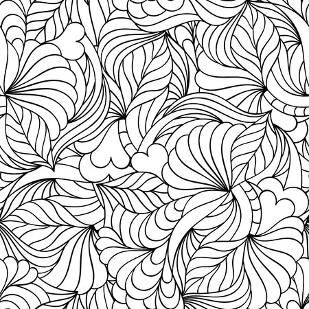patrones de flores: Vector illustration of abstract seamless pattern.Coloring page for adult.