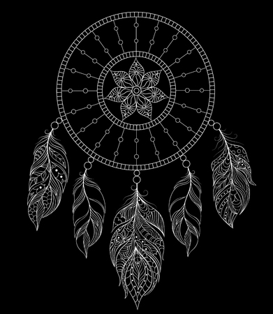 totem indien: Vector illustration de dreamcatcher sur fond noir.