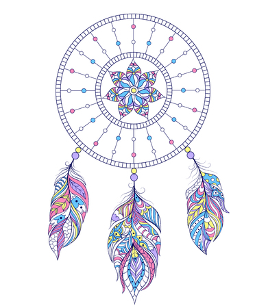 catch: illustration of dreamcatcher on white background