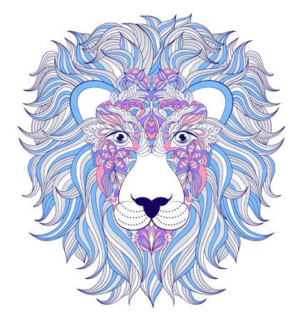 undomesticated: illustration of head of lion on white background.