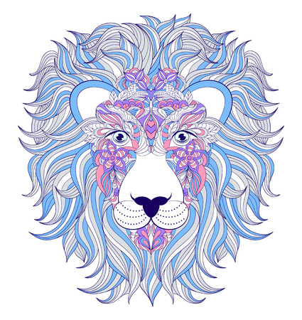 illustration of head of lion on white background.