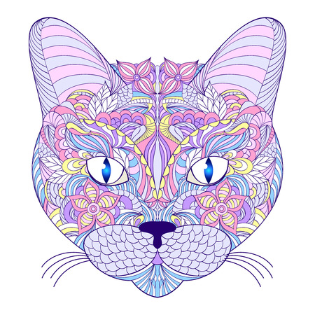 Vector illustration of head of cat on white background