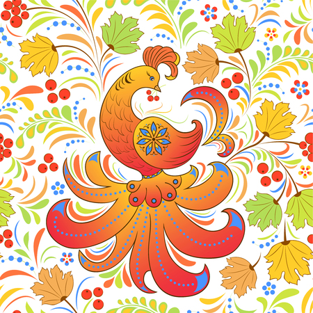 Vector illustration of seamless pattern with bird and abstract flowers.Traditional russian pattern.Khokhloma.