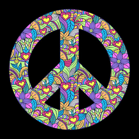 Vector illustration of colorful peace symbol on black background