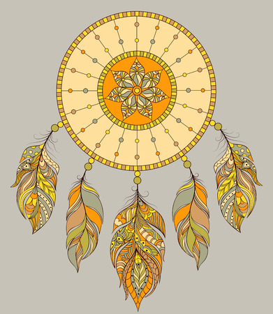 Vector illustration of dream catcher on gray background