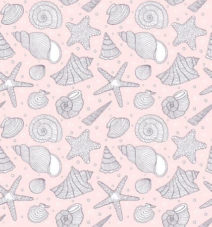 Vector illustration of seamless pattern with ocean shells