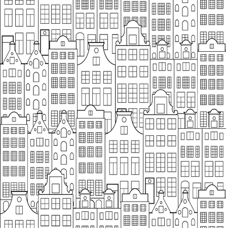 arrière plan noir et blanc: Vector illustration of seamless pattern with old building.Coloring page for adult. Illustration