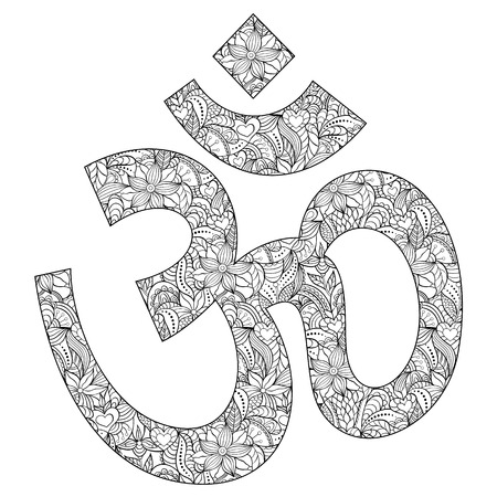 aum: Vector illustration of floral Om symbol on white background.Coloring page for adult.