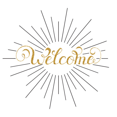 Vector illustration of handwriting inscription welcome with rays on white background