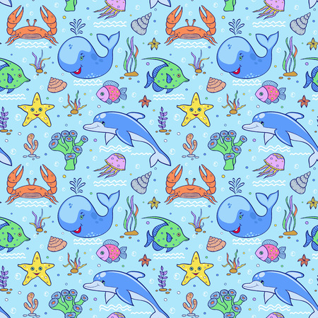 sea world: Illustration of sea seamless pattern.Colorful underwater world