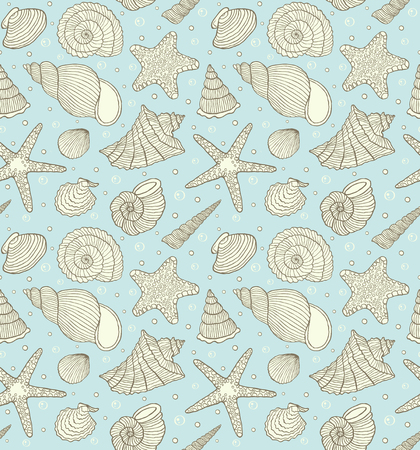 Illustration of seamless pattern with ocean shells